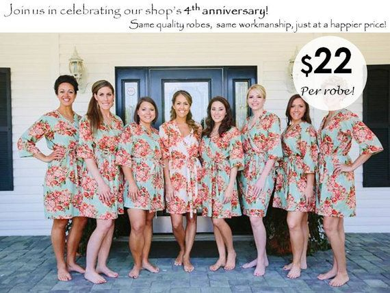 Bridesmaid Robes Set of 8   Garden Inspired by SunsetToSunrise