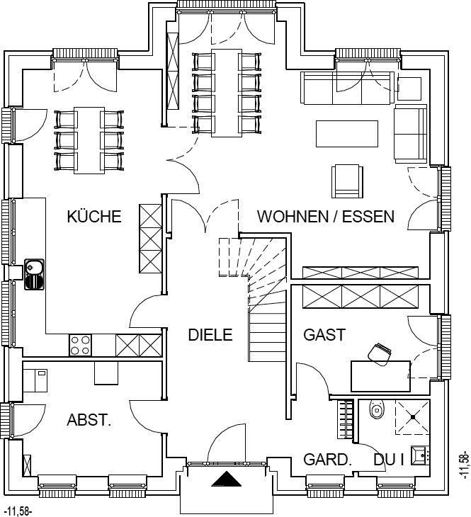Stadtvilla Grundriss Erdgeschoss mit 109,65 m² Wohnfläche