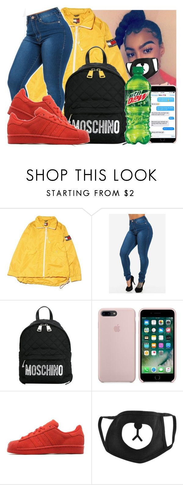 """""""Party - Chris Brown, Gucci, Usher [ song + video lit as hell ] """" by daradior ❤ liked on Polyvore featuring GET LOST, Moschino and adidas Originals"""