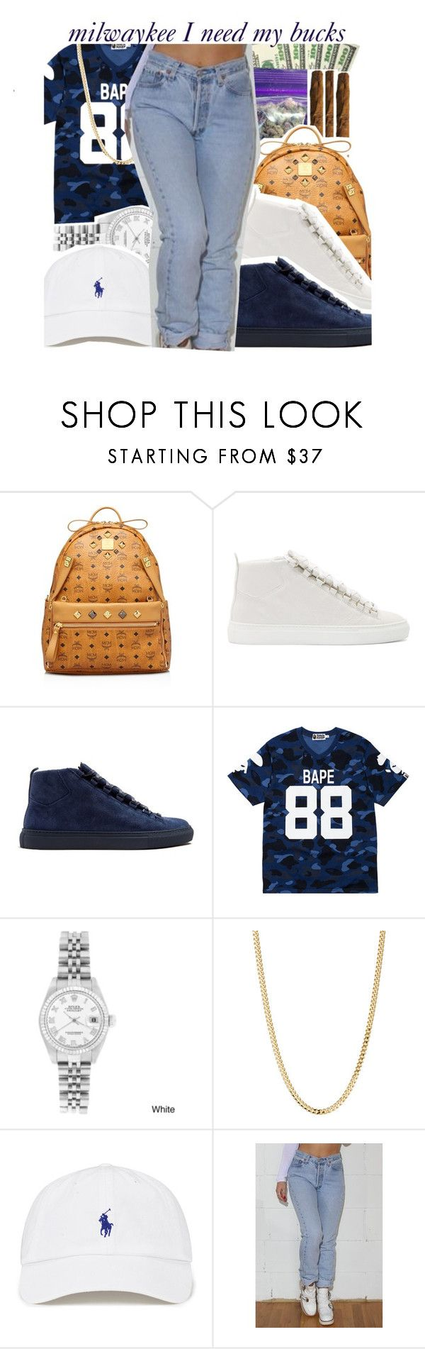 """tell lil b i need my bucks"" by pinksemia ❤ liked on Polyvore featuring INC International Concepts, MCM, Balenciaga, A BATHING APE, Rolex, Bianca Pratt and Levi's"