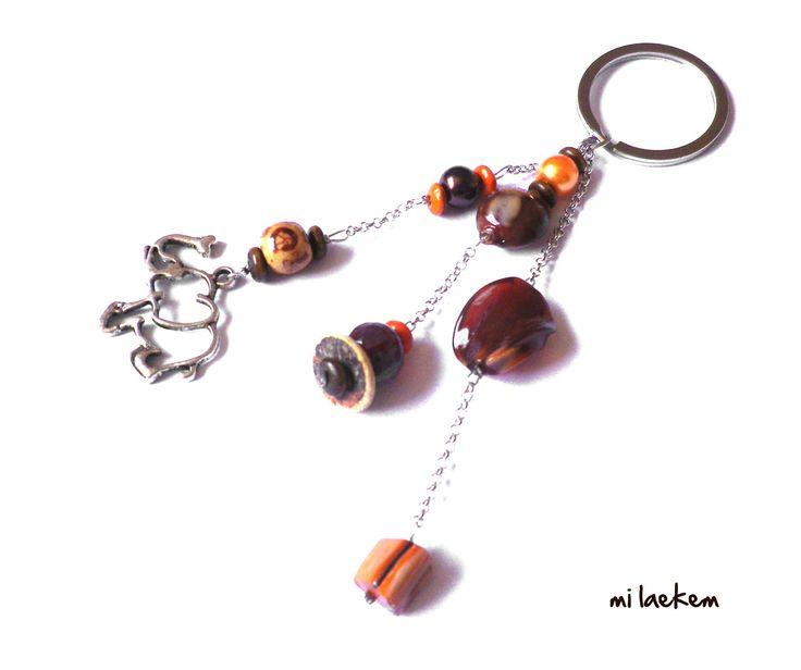ELEPHANT - Bijou de sac / porte-clés marron-orange - ethnique : Autres bijoux par milaekem-bijoux