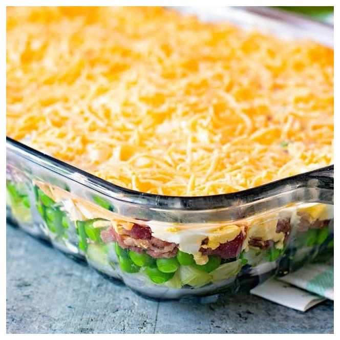 Traditional Seven Layer Salad Traditional Seven Layer Salad Tastes Like I Remember When Growing Up In 2020 Layered Salad Recipes Seven Layer Salad Layered Salad
