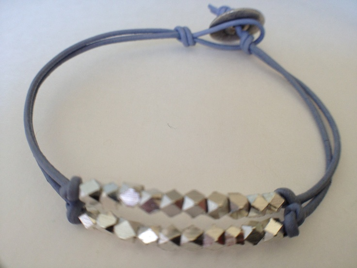 DIY Leather Bracelet with Silver Nugget Beads.