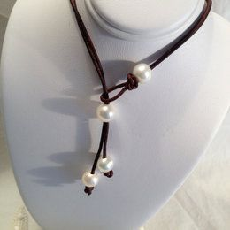 Pearl and Leather Lariat Necklace, Creamy White Pearls