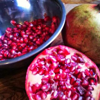 """Pomegranates are in season! Also called """"The Jewel of Autumn"""" is a real Antioxidant-Bomb, super healthy and helps you fight off cold and flu-viruses. So need some power-up food? Check out our Pemegranate Muffin recipe!"""