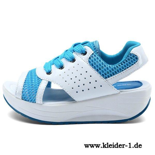 Bequeme Sandalen Damenschuhe mit Runde Sohle in Weiss Blau