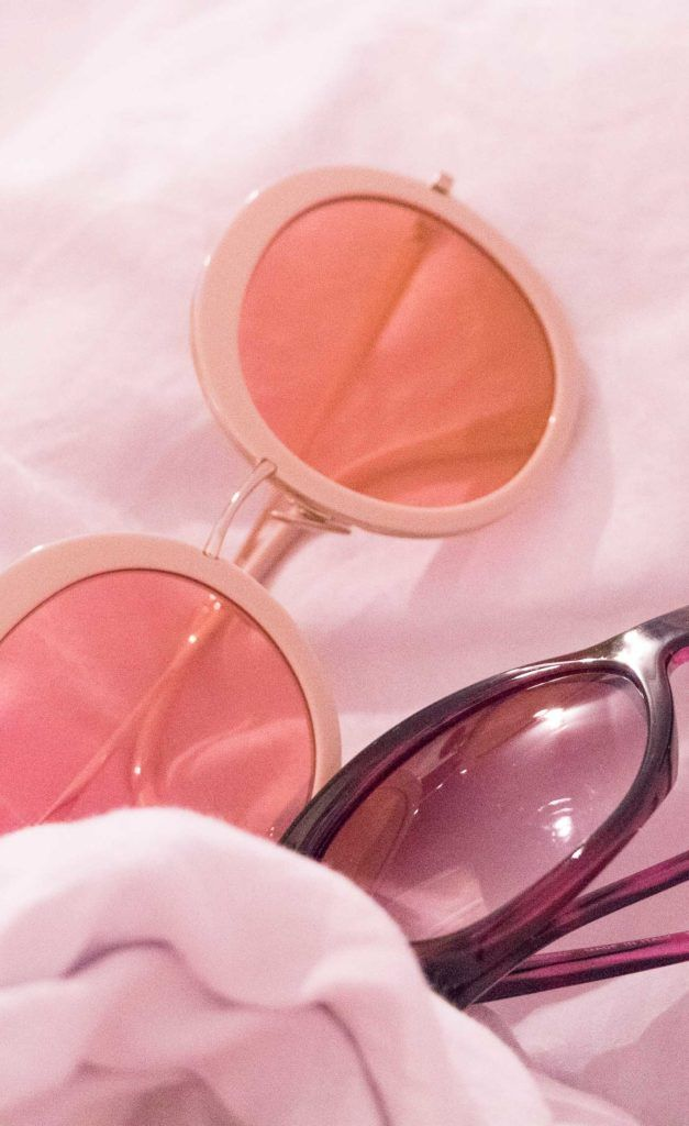 pastel pink round framed sunglasses Sunday Somewhere and cat-eye frames
