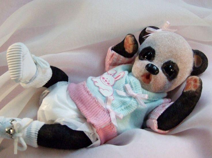 OOAK Sculpted Polymer Clay Baby Panda Teddy Bear Miniature Collectible Art Doll #HandsculptedPolymerArtDoll