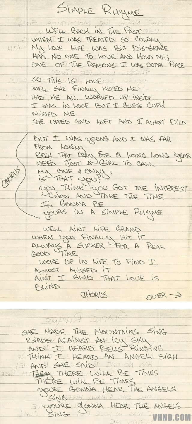 89 best van halen images on pinterest eddie van halen music and daves handwritten lyrics hexwebz Choice Image