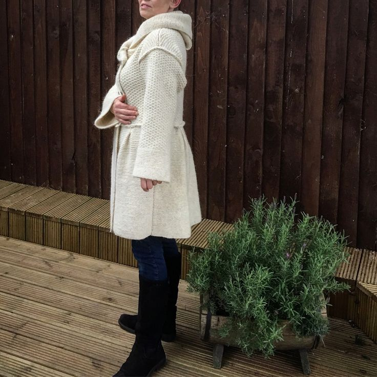 New in stock! Hand knitted coat from real eco wool white shade of ivory . Warm and cosy exactly what you need for spring!