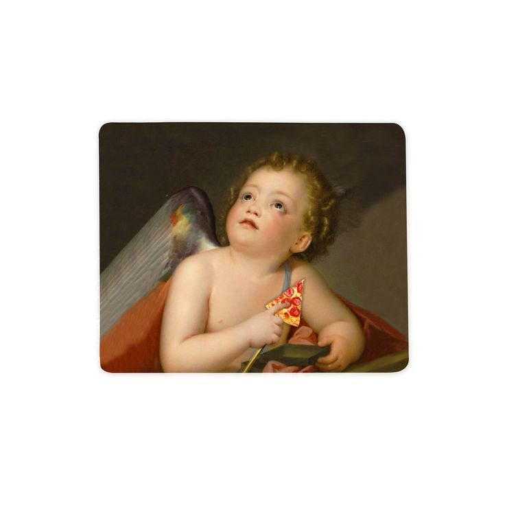 """Cupid Pizza Mousepad  It's 2:30 am. You should've slept hours ago. You have work in the morning. What do you do? You order pizza. You love pizza. It is your cupid, ok?    Our mousepads are 7"""" x 9"""" in size and the material is a blend of cloth and rubber."""