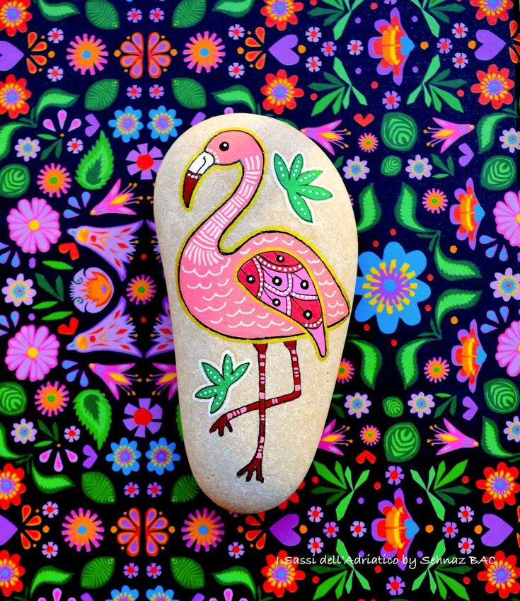 flamingo painted rock