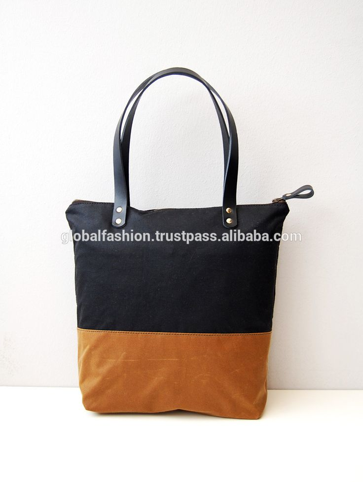 Waxed canvas tote bag with zipper and leather straps canvas leather tote bag