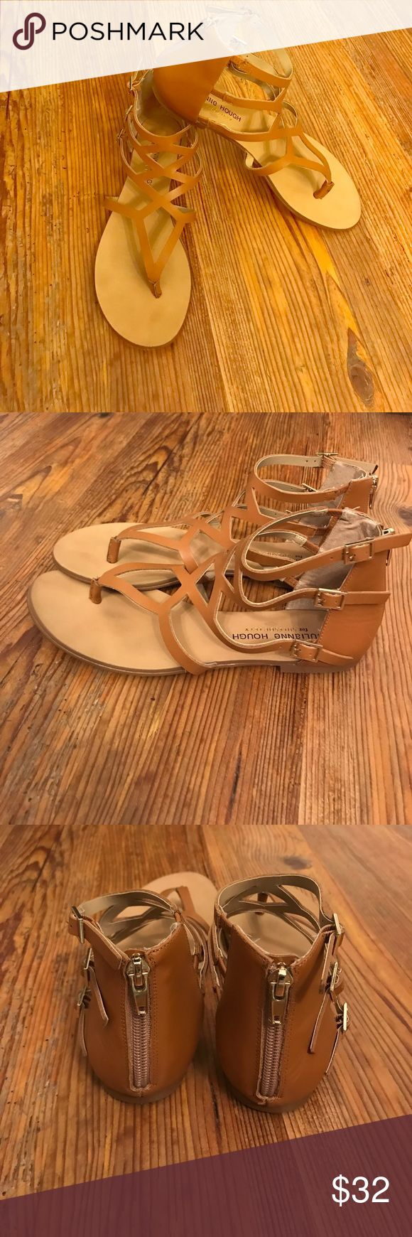 Tan sandals From Sole Society, super cute Julianne Hough gladiator sandals. Zipper back. Gold accents. Unfortunately after 3 kids my feet have gotten larger and these no longer fit. Sole Society Shoes Sandals