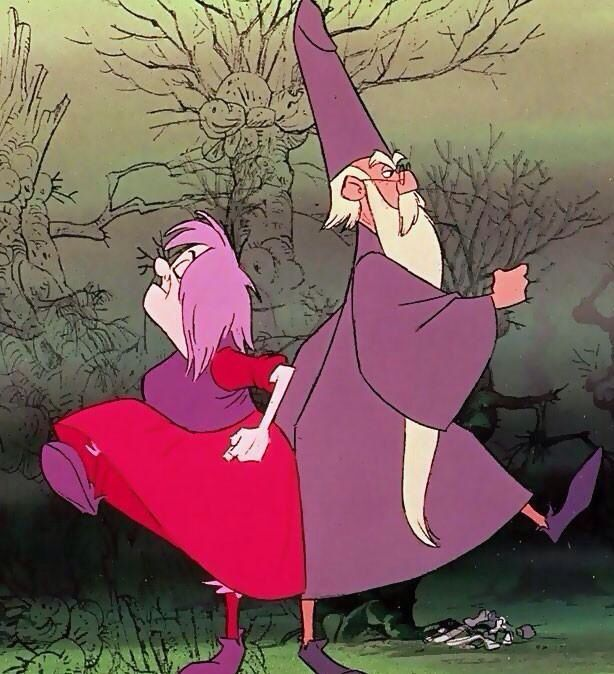 """Merlin & Madame Mim from """"The Sword and The Stone"""".    Pace off ten... 1. 2. 3. 4...hehehe...."""