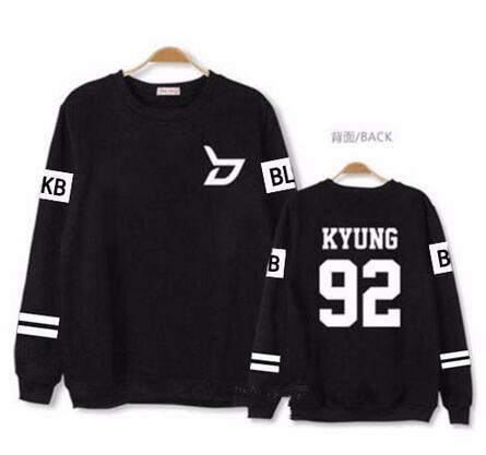 Kpop block b concert same member nname printing o neck sweatshirt unisex zico p.o pullover thin hoodie for spring