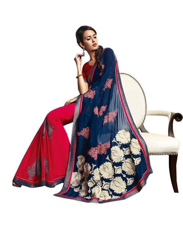 Blue Resham Embroidery Saree  Check out all the details of this product here: http://www.ethnicstation.com/blue-resham-embroidery-saree-vl1707  #EmbroideredWorkSaree #onlineDiscount
