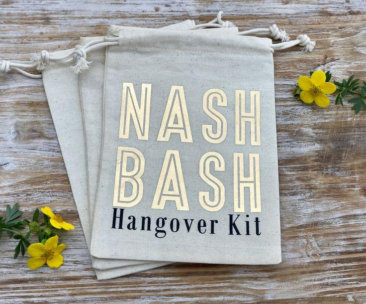 Nashville Bachelorette Party Hangover Kit Bags, Nash Bash hangover kit, nashlorette favor bags, gold bachelorette hangover bags