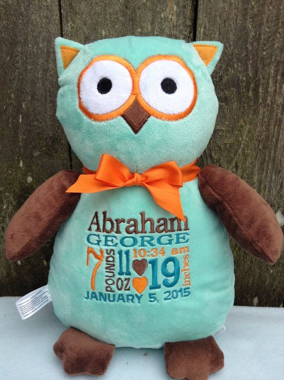 Personalized Baby Gift Embroidered Baby by WorldClassEmbroidery Owl  Teal Brown Orange Baby Shower Birth Announcement