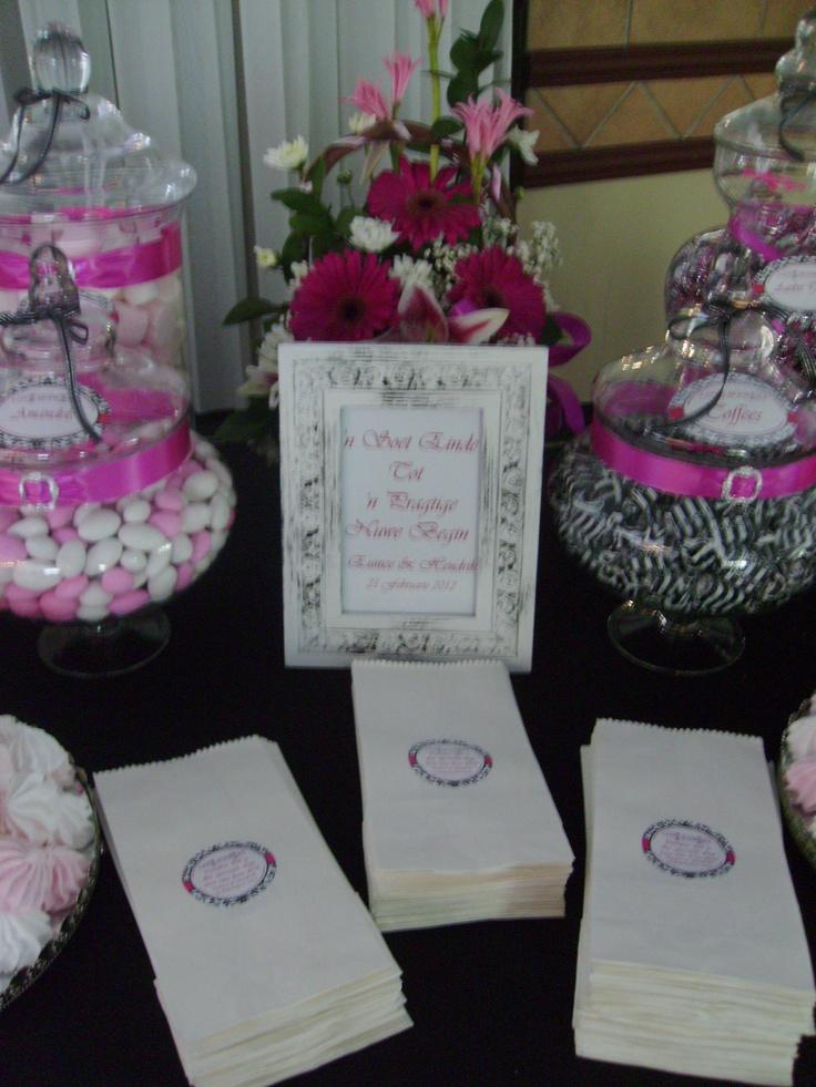 wedding shower candy buffet ideas%0A Pink  Black  u     White  Candy Buffet