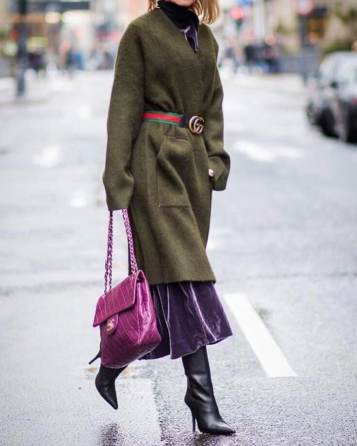 Purple velvet skirt+ bag on fuchsia nuance+ military coat with fuchsia belt.+ black boots