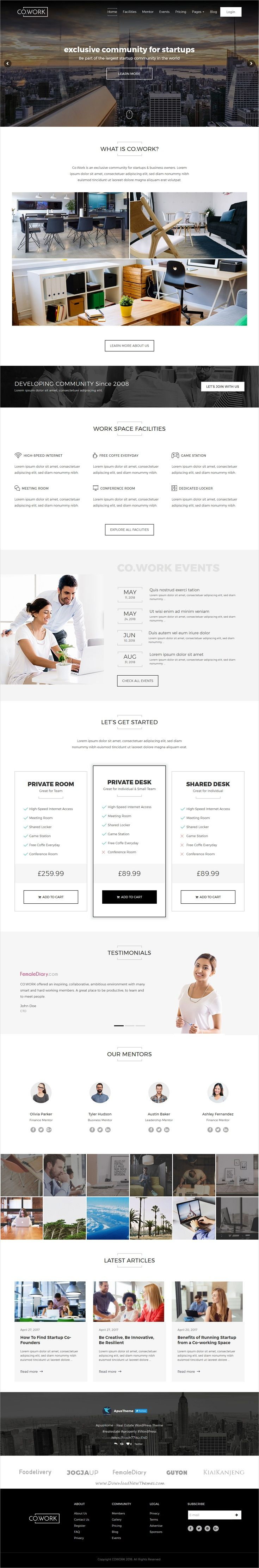 CoWork is clean and modern design responsive #WordPress theme for open #office and creative #coworking space website download now..