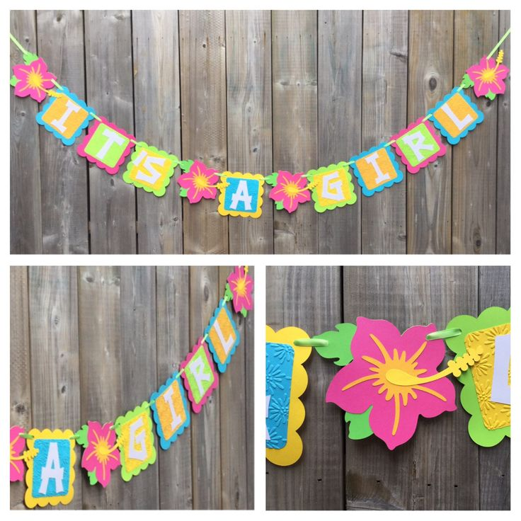 IT'S A GIRL Luau Theme banner, Luau Baby Shower Banner, Tiki Party Decoration, Luau Party Bright Tropical Banner, Tropical Flower Banner by lilcraftychickadee on Etsy https://www.etsy.com/ca/listing/514696720/its-a-girl-luau-theme-banner-luau-baby