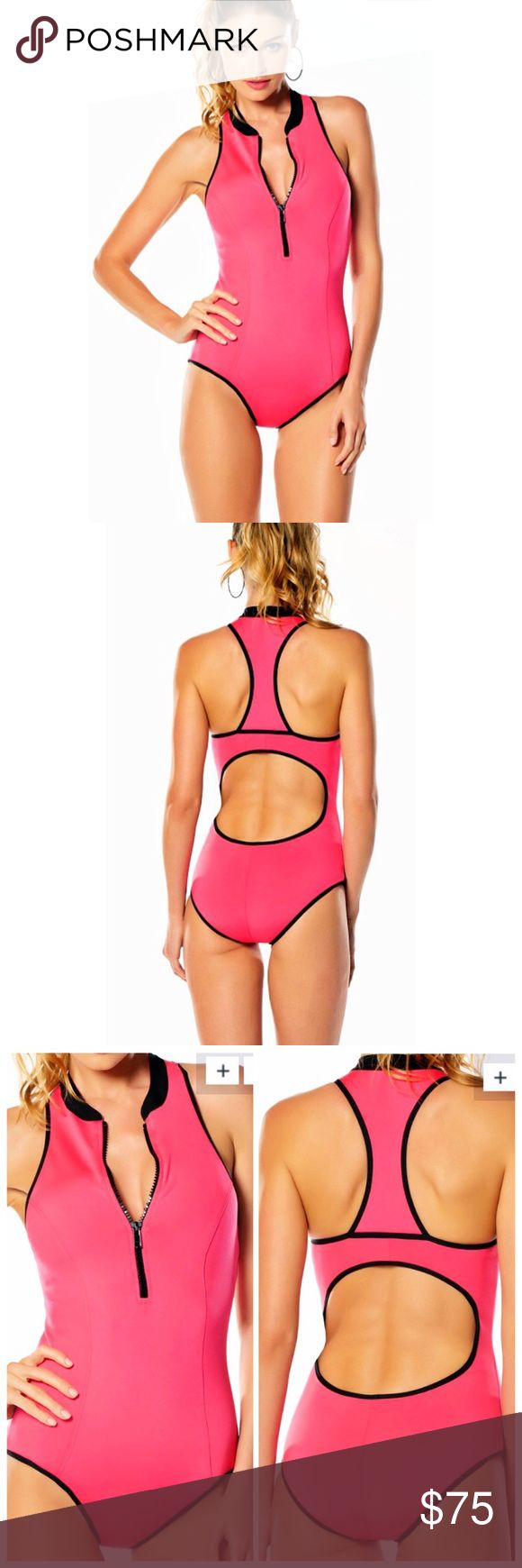 One Piece Racerback Swimsuit High neck one piece Racerback swimsuit with drop shelf support, removable halter cups, cutout back detail, and scuba zipper. 89% Nylon, 11% Spandex. Size Medium (6-8). NWT. BECCA Swim One Pieces