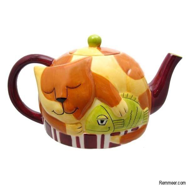 Ursula Dodge Cat Teapot - Sleeping Cat Ceramic Teapot