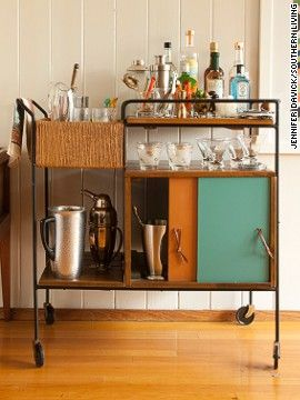 midcentury modern barcart | bar cart, featured in the current issue of Southern Living, has mid ...