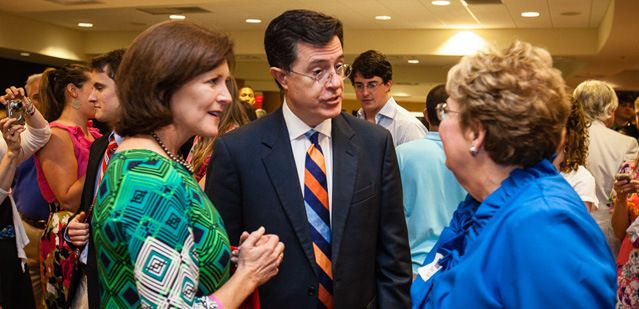 Evelyn McGee-Colbert and Stephen Colbert at the University of Virginia's 2013 Valedictory Exercises.