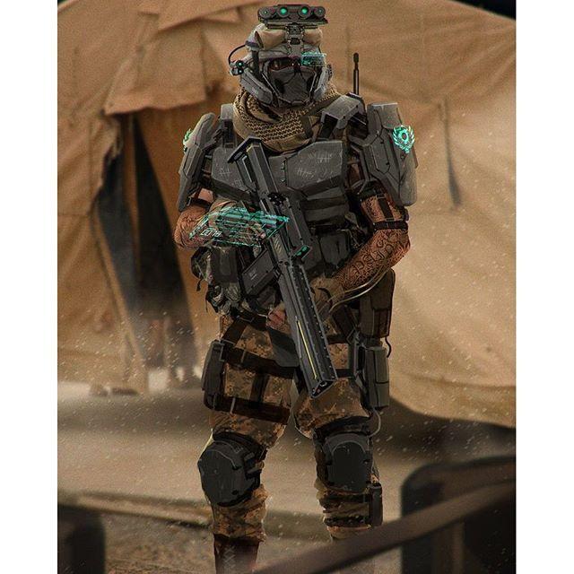 "Special Combat Units with ""L.R.G"" Light Rail Guns prototype. - - #art #conceptart #militaryart ..."