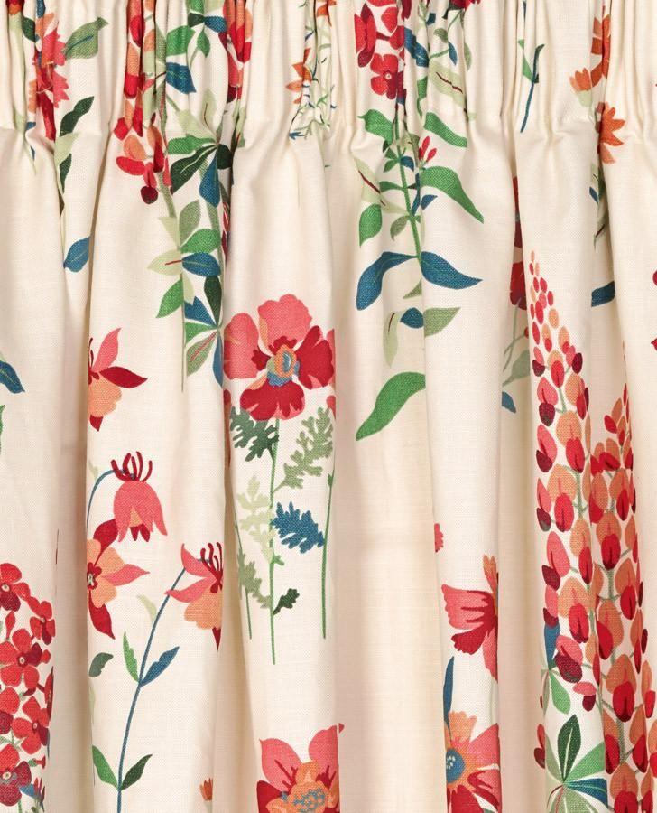 Fernshaw Cranberry Pencil Pleat Ready Made Curtains