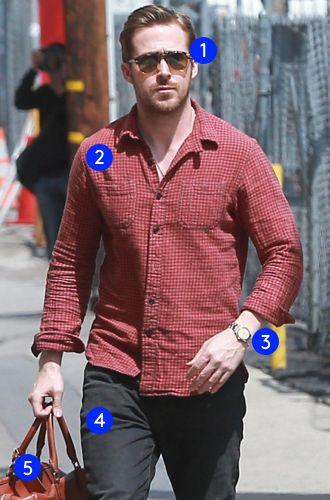 Ryan Gosling\u0026#39;s Easy Weekend Look 1- Ray-Ban Tortoise Sunglasses 2- RRL Men\u0026#39;s