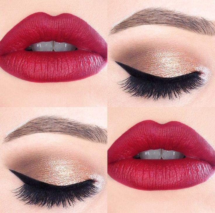 Golden tones and deep red lip.