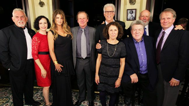 Cheers 30th Anniversary Party! The  gang:John Ratzenberger (Cliff Clavin), Bebe Neuwirth (Dr. Lilith Sternin-Crane), Kirstie Alley (Rebecca Howe), Glen Charles, Ted Danson (Sam Malone), Rhea Perlman (Carla Tortelli), George Wendt (Norm Peterson), James Burrows and Les Charles at #Celebrity #HotSpot Bouchon Beverly Hills on Oct 6, 2012 http://celebhotspots.com/hotspot/?hotspotid=5904&next=1