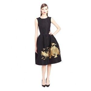 Oscar de la Renta Elephant Embroidered Silk Faille Cocktail Dress