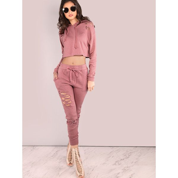 SheIn(sheinside) Distressed Drawstring Sweatpants MAUVE ($20) ❤ liked on Polyvore featuring activewear, activewear pants, outfits, drawstring sweatpants, pink sweat pants, skinny leg sweatpants, long sweatpants and super skinny sweatpants