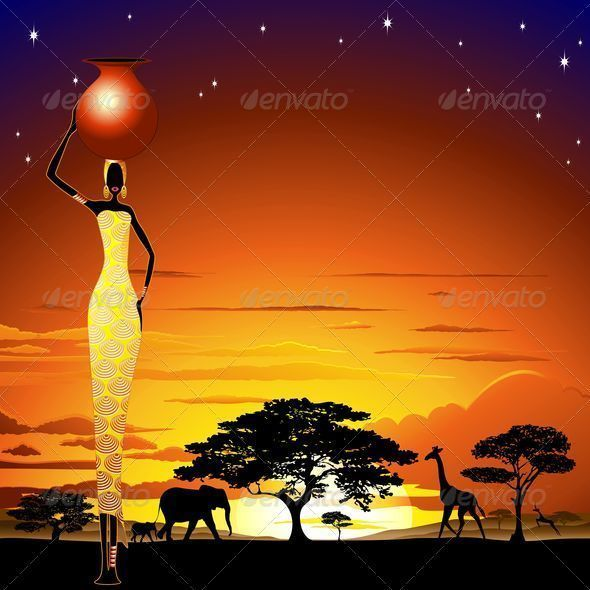 ★ #African #Woman on #Wild #Savannah #Sunset ★ SOLD! ★ on #Graphicriver   http://graphicriver.net/item/african-woman-on-wild-savannah-sunset/5337599