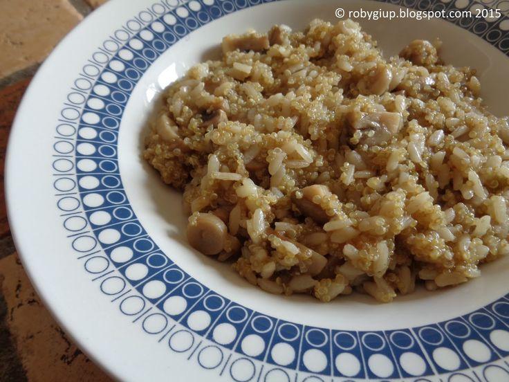 quinotto (risotto di quinoa) con funghi champignons