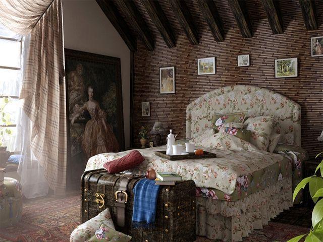 старинный сундук в интерьере спальни