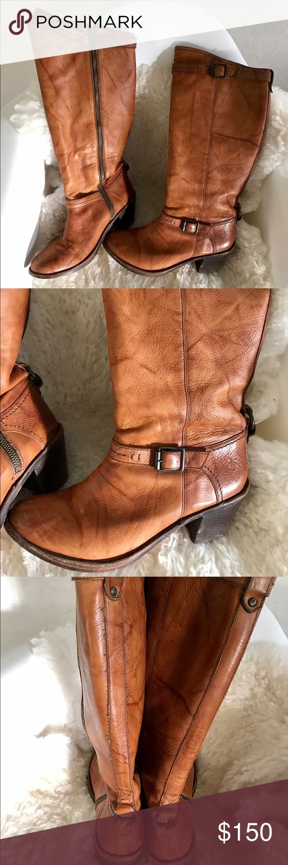 """Frye light brown // tan leather boots Beautiful boots with 2"""" heel and zip inside. Easy on and off. Bottoms and heels have some wear (see photo). Frye Shoes Heeled Boots"""