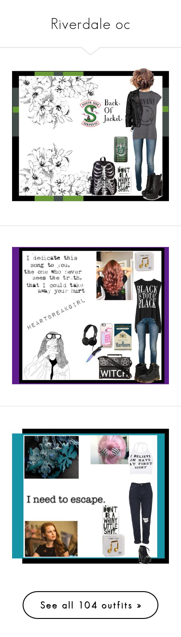 """Riverdale oc"" by thin-mint on Polyvore featuring Pierre Balmain, MANGO, VIPARO, Warner Bros., Happy Plugs, Casetify, Handle, Benetton, Dr. Martens and Skullcandy"