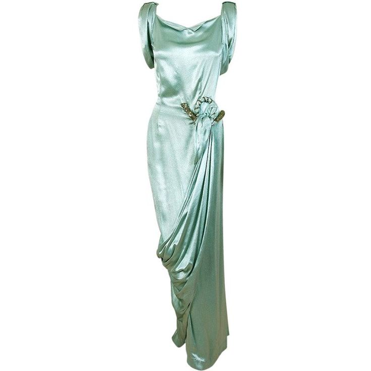 1930's Seafoam Silk-Satin Sequin Draped Grecian Goddess Gown | From a collection of rare vintage evening dresses and gowns at https://www.1stdibs.com/fashion/clothing/evening-dresses/