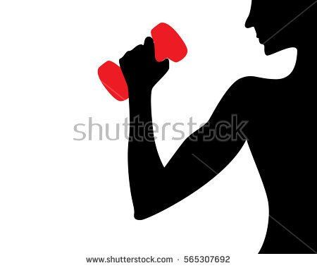 Woman doing lifting in black silhouette