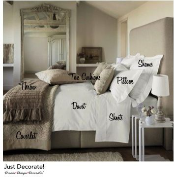 A great primer for a welcoming bed!  I'd love to walk into someone's guest room and find this.   :-)  Neutral layered bedding via Just Decorate!