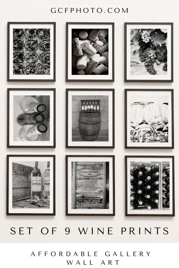 Kitchen Wall Decor Winery Photography Prints In Black White Wall Art Prints For Wine Gallery Wall Set In 2020 Wall Art Prints Gallery Wall Green Wall Art