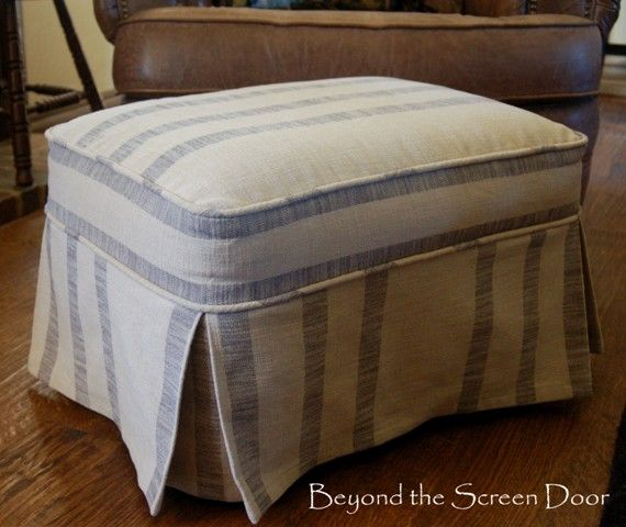 Before & After Ottoman Slipcovers | Beyond the Screen Door