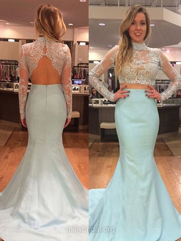 Two Piece Prom Dresses, Lace Formal Dresses, Blue Prom Dresses, Long Sleeve Party Gowns, Trumpet/Mermaid Evening Dresses, High Neck Prom Gowns
