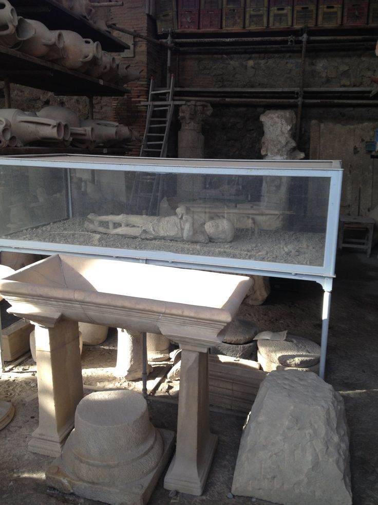 By the technique of plaster cast of Pompeii, the human bodies could be preserved at the moment of death in 79AD when Mt. Vesuvius erupted.